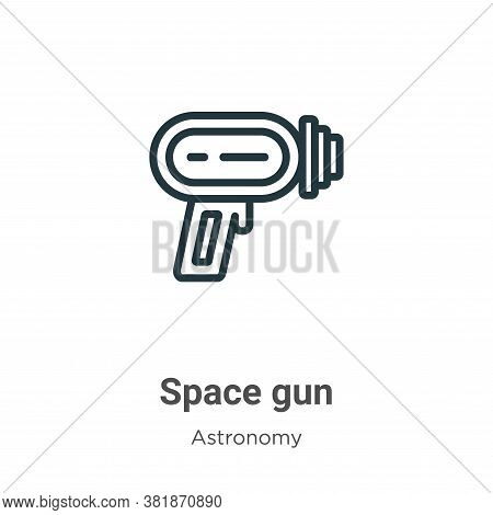 Space gun icon isolated on white background from astronomy collection. Space gun icon trendy and mod