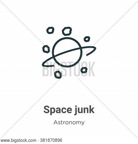 Space junk icon isolated on white background from astronomy collection. Space junk icon trendy and m
