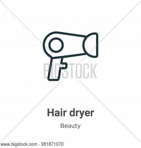 Hair dryer icon isolated on white background from beauty collection. Hair dryer icon trendy and mode