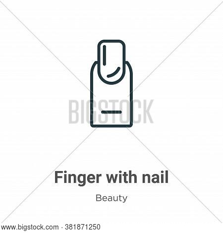 Finger with nail icon isolated on white background from beauty collection. Finger with nail icon tre