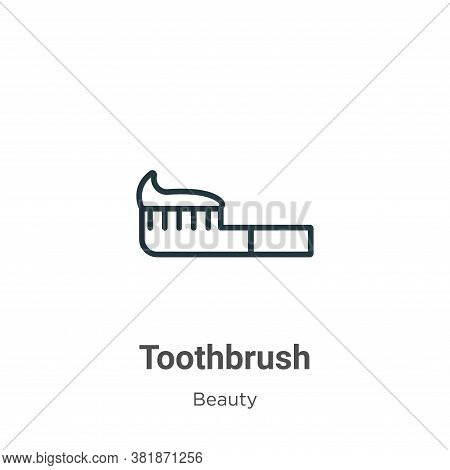 Toothbrush icon isolated on white background from beauty collection. Toothbrush icon trendy and mode