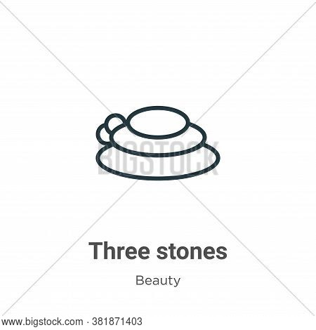 Three stones icon isolated on white background from beauty collection. Three stones icon trendy and