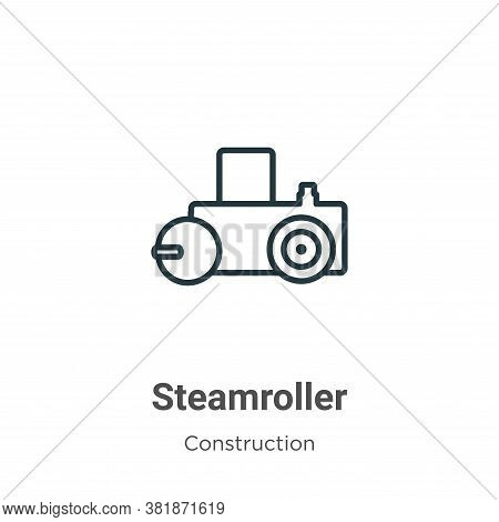 Steamroller icon isolated on white background from construction collection. Steamroller icon trendy