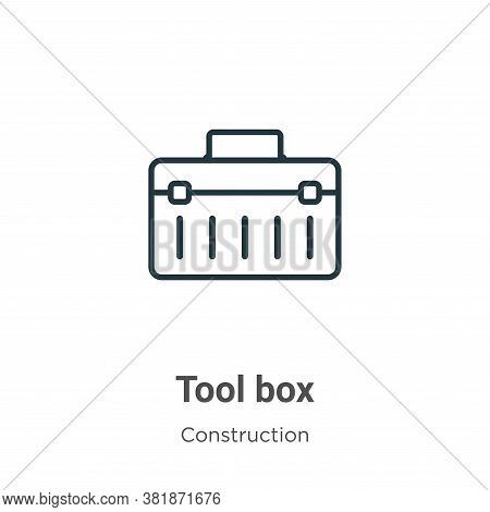 Tool box icon isolated on white background from construction collection. Tool box icon trendy and mo