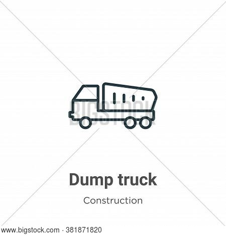 Dump Truck Icon From Construction Collection Isolated On White Background.