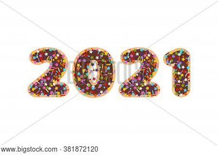 2021 Numbers In Flat Colorful Sprinkles Candy Topping On Chocolate Glazed Cookies Font, Stock Vector