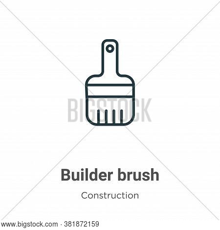 Builder brush icon isolated on white background from construction collection. Builder brush icon tre