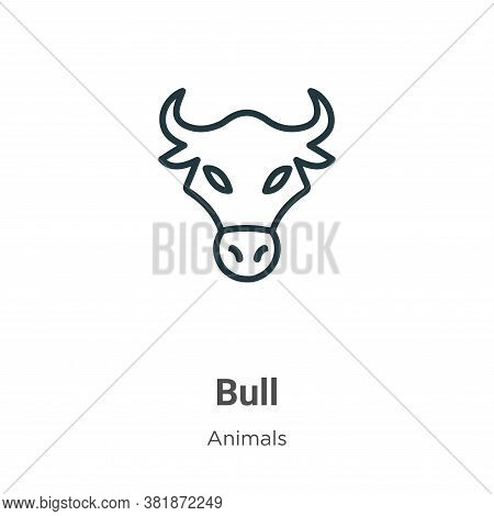 Bull icon isolated on white background from animals collection. Bull icon trendy and modern Bull sym
