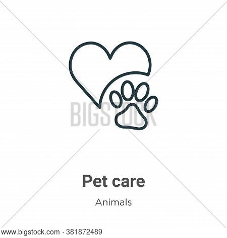 Pet care icon isolated on white background from animals collection. Pet care icon trendy and modern