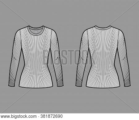 Ribbed Crew Neck Knit Sweater Technical Fashion Illustration With Long Sleeves, Close-fitting Shape