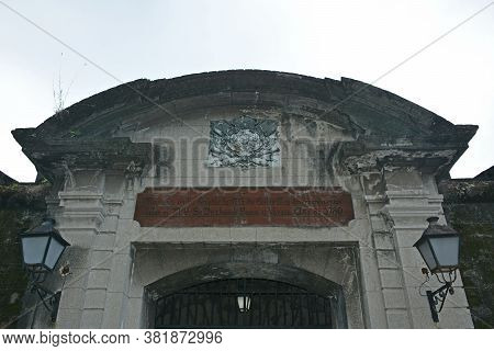 Manila, Ph - Oct. 5 - Puerta Real Entrance Arch At Intramuros Walled City On October 5, 2019 In Mani