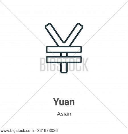 Yuan icon isolated on white background from asian collection. Yuan icon trendy and modern Yuan symbo