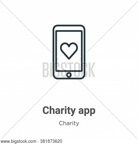 Charity app icon isolated on white background from charity collection. Charity app icon trendy and m