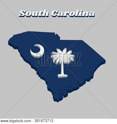 3d Map Outline And Flag Of South Carolina, White Palmetto Tree On An Indigo Field. The Canton Contai