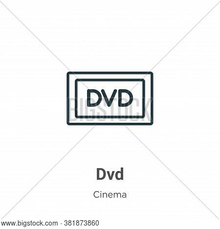 Dvd logo icon isolated on white background from cinema collection. Dvd logo icon trendy and modern D
