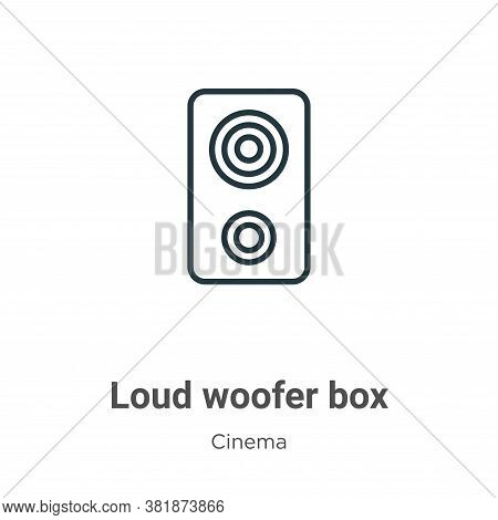Loud woofer box icon isolated on white background from cinema collection. Loud woofer box icon trend