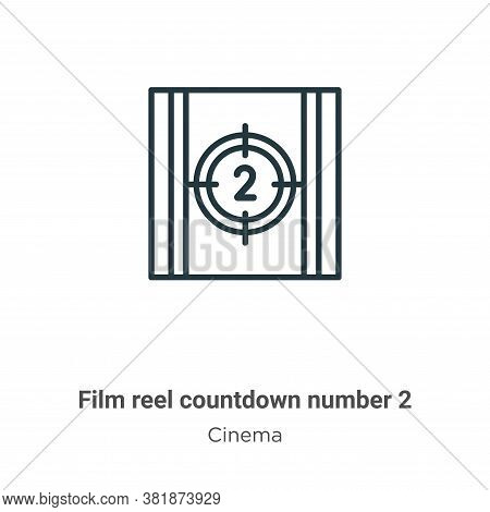 Film reel countdown number 2 icon isolated on white background from cinema collection. Film reel cou