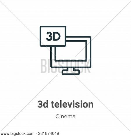 3d television icon isolated on white background from cinema collection. 3d television icon trendy an