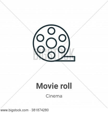 Movie roll icon isolated on white background from cinema collection. Movie roll icon trendy and mode
