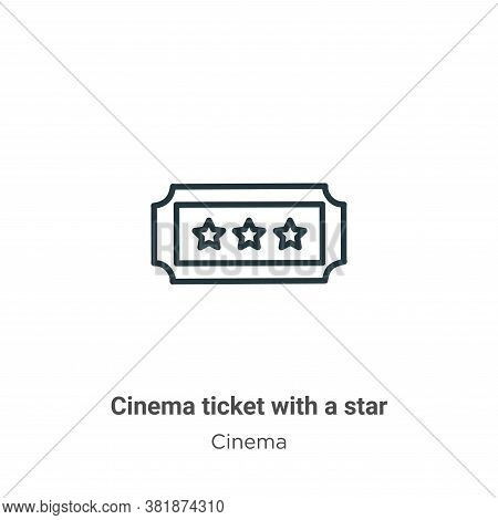 Cinema ticket with a star icon isolated on white background from cinema collection. Cinema ticket wi