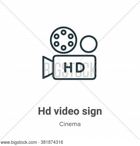 Hd video sign icon isolated on white background from cinema collection. Hd video sign icon trendy an