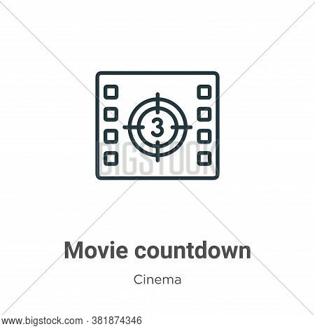 Movie countdown icon isolated on white background from cinema collection. Movie countdown icon trend