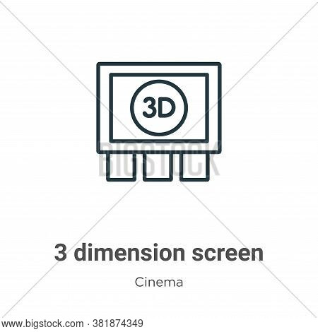 3 dimension screen icon isolated on white background from cinema collection. 3 dimension screen icon