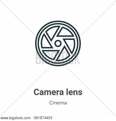 Camera lens icon isolated on white background from cinema collection. Camera lens icon trendy and mo