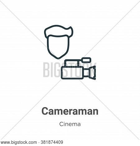 Cameraman icon isolated on white background from cinema collection. Cameraman icon trendy and modern