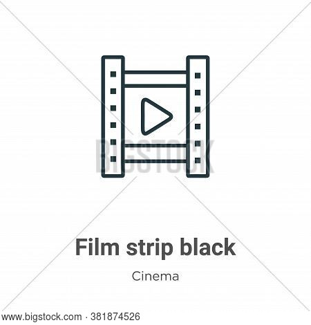 Film strip black icon isolated on white background from cinema collection. Film strip black icon tre