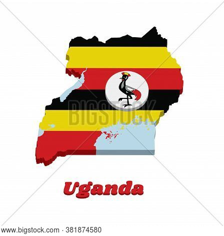 3d Map Outline And Flag Of Uganda, Horizontal Bands Of Black Yellow And Red; A White Disc Depicts Th