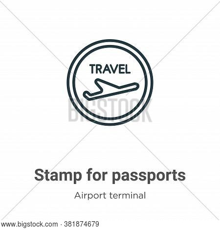 Stamp for passports icon isolated on white background from airport terminal collection. Stamp for pa