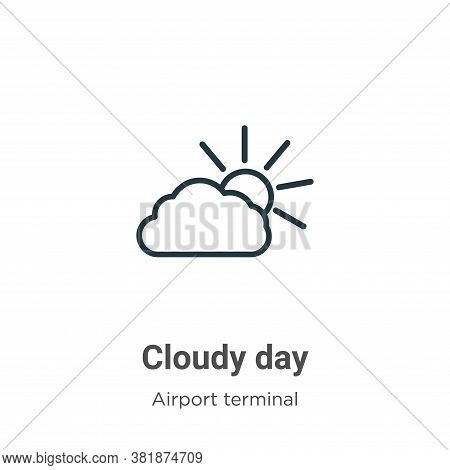 Cloudy day icon isolated on white background from airport terminal collection. Cloudy day icon trend