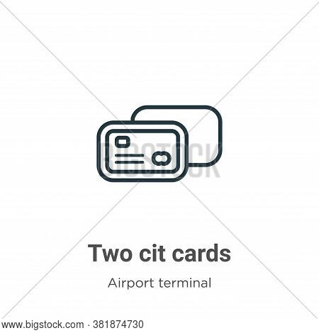 Two credit cards icon isolated on white background from airport terminal collection. Two credit card