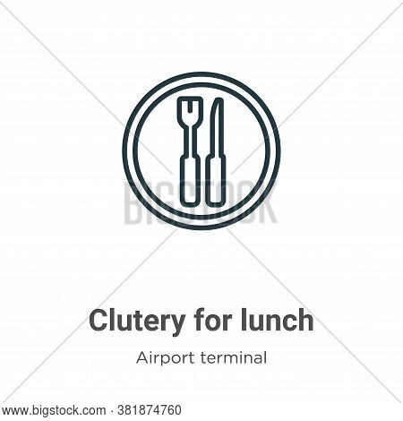 Clutery for lunch icon isolated on white background from airport terminal collection. Clutery for lu