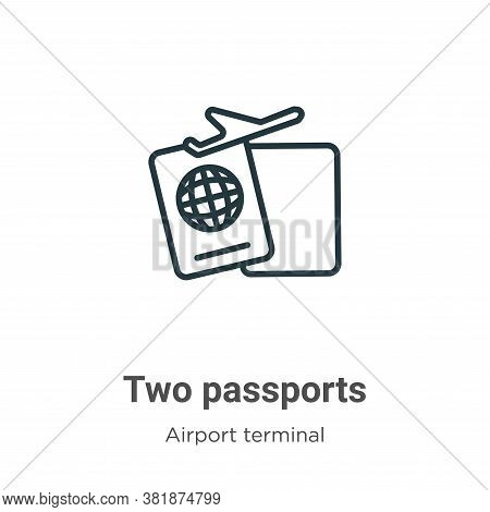 Two passports icon isolated on white background from airport terminal collection. Two passports icon