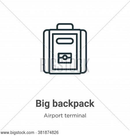 Big backpack icon isolated on white background from airport terminal collection. Big backpack icon t