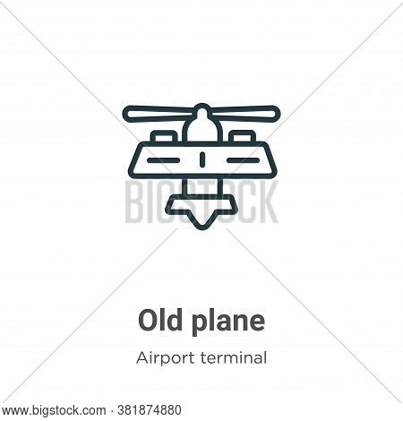Old plane icon isolated on white background from airport terminal collection. Old plane icon trendy