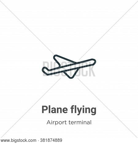 Plane flying icon isolated on white background from airport terminal collection. Plane flying icon t
