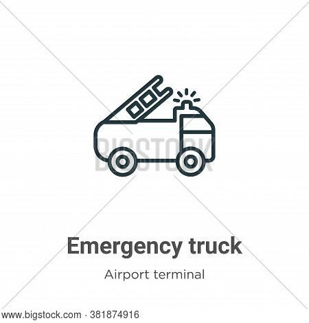 Emergency truck icon isolated on white background from airport terminal collection. Emergency truck