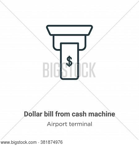 Dollar bill from cash machine icon isolated on white background from cash machine icon from cash mac