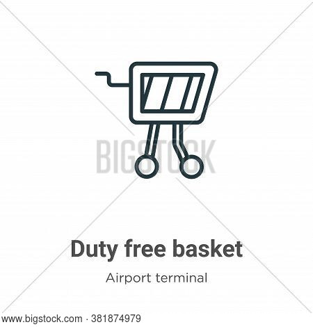 Duty free basket icon isolated on white background from airport terminal collection. Duty free baske