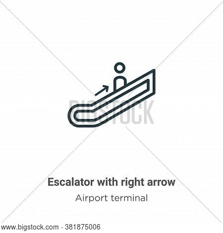 Escalator with right arrow icon isolated on white background from airport terminal collection. Escal