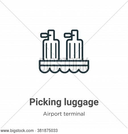 Picking luggage icon isolated on white background from airport terminal collection. Picking luggage