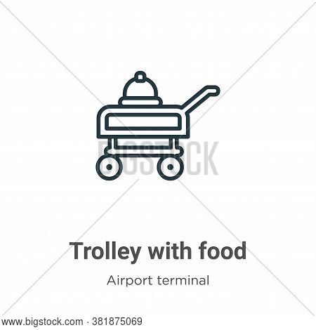 Trolley with food icon isolated on white background from airport terminal collection. Trolley with f