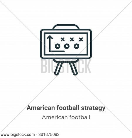 American football strategy icon isolated on white background from american football collection. Amer