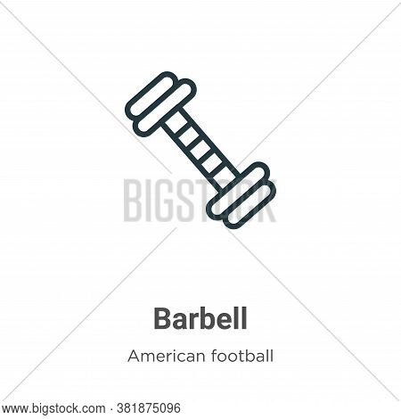 Barbell icon isolated on white background from american football collection. Barbell icon trendy and