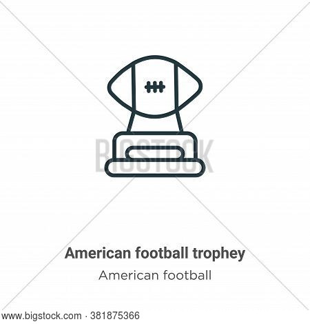 American football trophey icon isolated on white background from american football collection. Ameri
