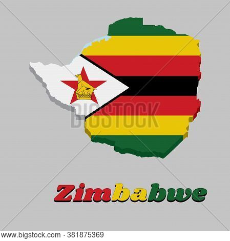 3d Map Outline And Flag Of Zimbabwe,  Seven Horizontal Stripes Of Green Yellow Red Black With A Blac