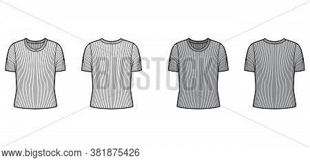 Ribbed Crew Neck Knit Sweater Technical Fashion Illustration With Short Rib Sleeves, Oversized Body.